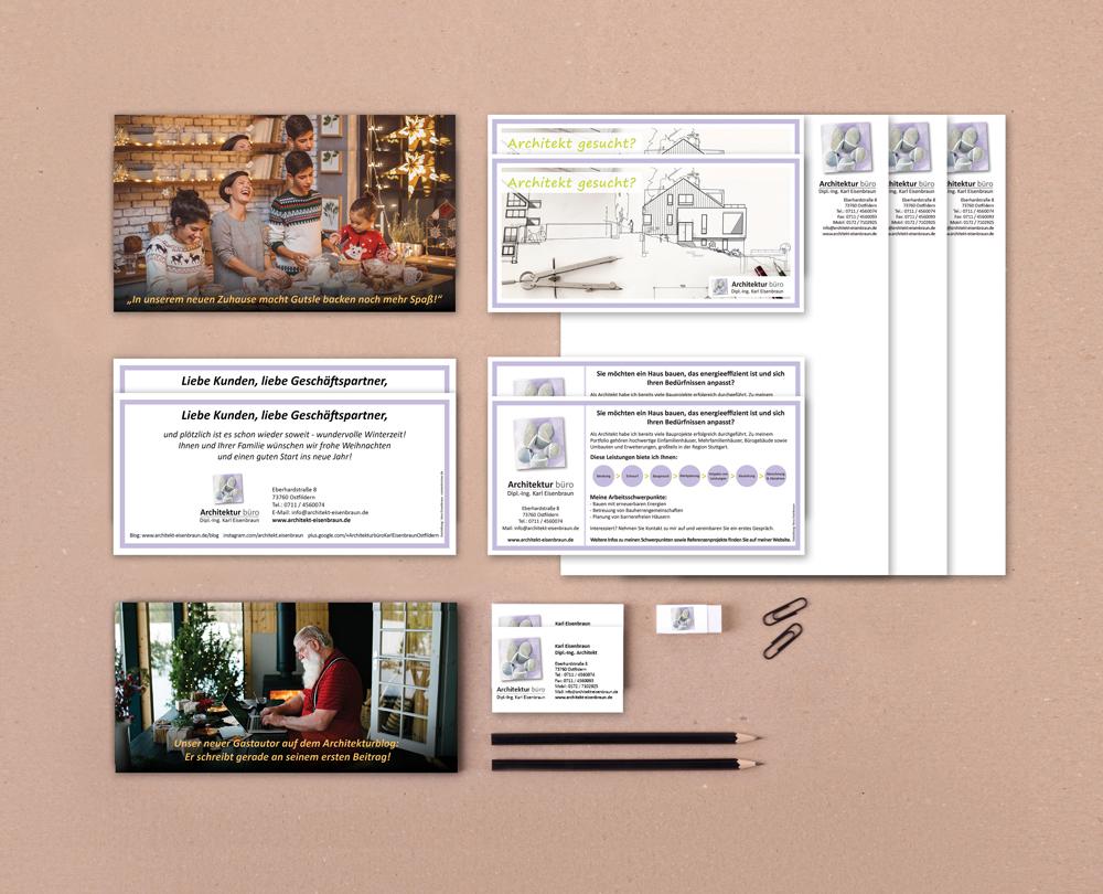 Von Vera Eisenbraun konzipierte Printprodukte für das Architekturbüro Eisenbraun