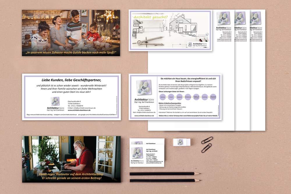 Auswahl Der Von Vera Eisenbraun Entworfenen Printprodukte Für Das Architekturbüro Eisenbraun