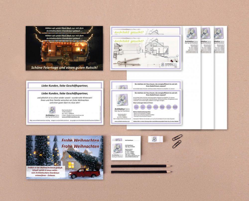 Printprodukte: Weihnachtskarten, Flyer, Visitenkarten, Briefpapier für das Architekturbüro Eisenbraun
