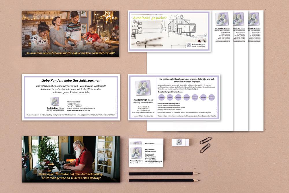 Auswahl Von Printprodukten Des Architekturbüro Eisenbraun. Konzipiert Von Vera Eisenbraun Gemäß Des Corporate Design..
